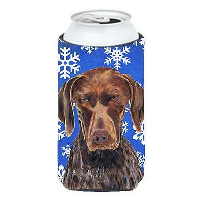 German Shorthaired Pointer Winter Snowflakes Holiday Tall Boy bottle sleeve H...