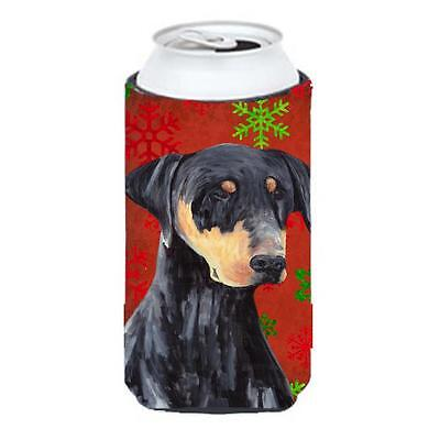 Doberman Red and Green Snowflakes Holiday Christmas Tall Boy Hugger