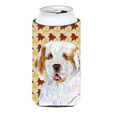 Clumber Spaniel Fall Leaves Portrait Tall Boy bottle sleeve Hugger