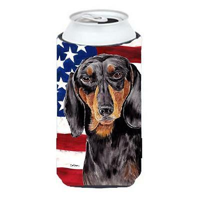 USA American Flag With Dachshund Tall Boy bottle sleeve Hugger 22 To 24 oz.