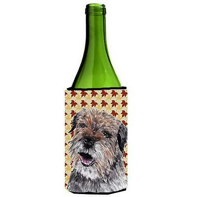 Carolines Treasures Border Terrier Fall Leaves Wine bottle sleeve Hugger