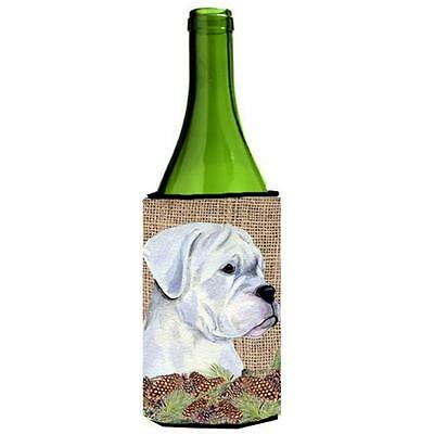White Boxer on Faux Burlap with Pine Cones Wine bottle sleeve Hugger 24 oz.