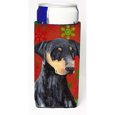 Doberman Red and Green Snowflakes Holiday Christmas Michelob Ultra s for slim...