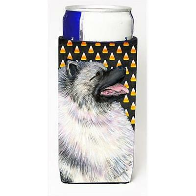 Keeshond Candy Corn Halloween Portrait Michelob Ultra bottle sleeves For Slim...
