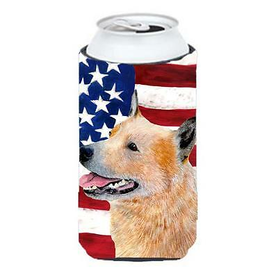 Usa American Flag With Australian Cattle Dog Tall Boy bottle sleeve Hugger 22...