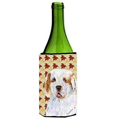Clumber Spaniel Fall Leaves Portrait Wine bottle sleeve Hugger