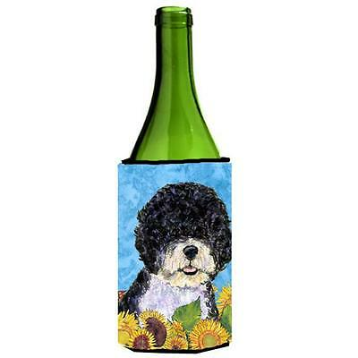 Portuguese Water Dog In Summer Flowers Wine bottle sleeve Hugger 24 oz.