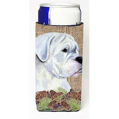 White Boxer on Faux Burlap with Pine Cones Michelob Ultra bottle sleeves for ...