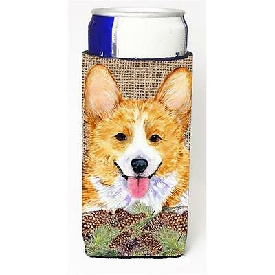 Corgi On Faux Burlap With Pine Cones Michelob Ultra bottle sleeve for Slim Can