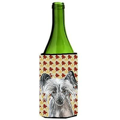 Carolines Treasures Chinese Crested Fall Leaves Wine bottle sleeve Hugger 24 oz.