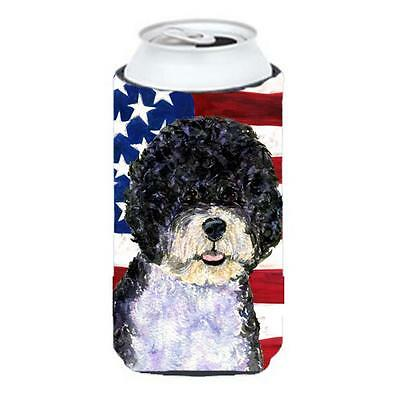 Usa American Flag With Portuguese Water Dog Tall Boy bottle sleeve Hugger