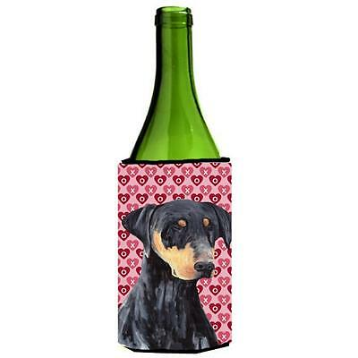 Doberman Hearts Love and Valentines Day Portrait Wine bottle sleeve Hugger