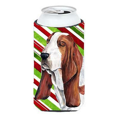 Basset Hound Candy Cane Holiday Christmas Tall Boy bottle sleeve Hugger 22 To...