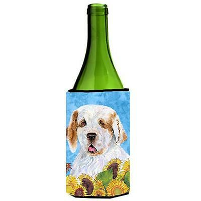 Clumber Spaniel In Summer Flowers Wine bottle sleeve Hugger 24 oz.