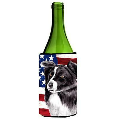 Usa American Flag With Border Collie Wine bottle sleeve Hugger 24 oz.