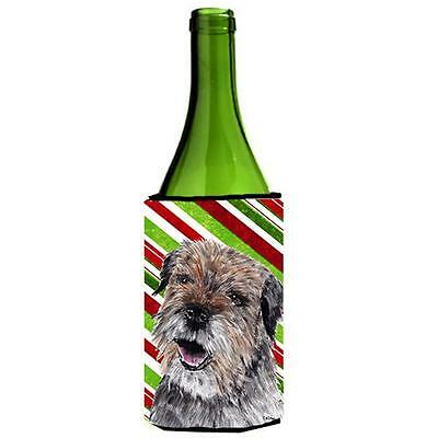Border Terrier Candy Cane Christmas Wine bottle sleeve Hugger 24 oz.