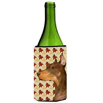 Doberman Fall Leaves Portrait Wine bottle sleeve Hugger 24 oz.