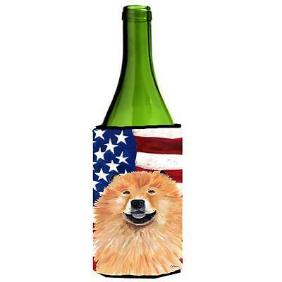 Usa American Flag With Chow Chow Wine bottle sleeve Hugger 24 oz.