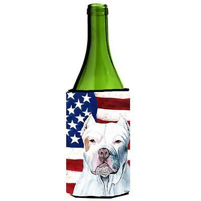 Usa American Flag With Pit Bull Wine bottle sleeve Hugger 24 oz. • AUD 48.26