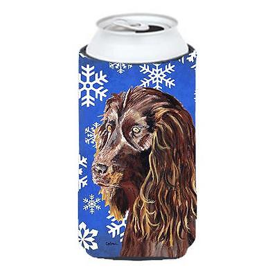 Boykin Spaniel Blue Snowflake Winter Tall Boy bottle sleeve Hugger 22 To 24 oz.