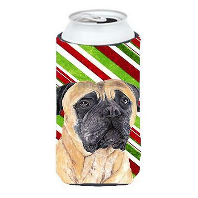 Mastiff Candy Cane Holiday Christmas Tall Boy bottle sleeve Hugger 22 To 24 oz.