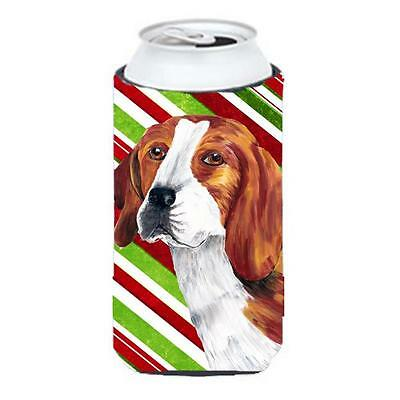 Beagle Candy Cane Holiday Christmas Tall Boy bottle sleeve Hugger 22 To 24 oz.