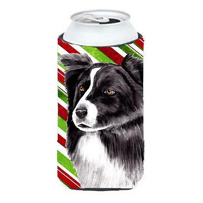 Border Collie Candy Cane Holiday Christmas Tall Boy bottle sleeve Hugger 22 T...