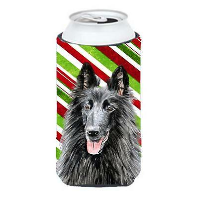Belgian Sheepdog Candy Cane Holiday Christmas Tall Boy bottle sleeve Hugger 2...