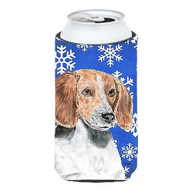 English Foxhound Blue Snowflake Winter Tall Boy bottle sleeve Hugger 22 To 24...