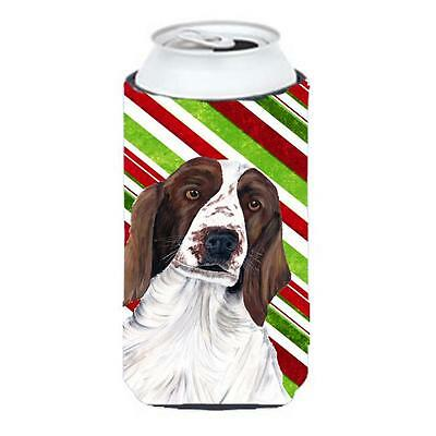 Welsh Springer Spaniel Candy Cane Holiday Christmas Tall Boy bottle sleeve Hu...