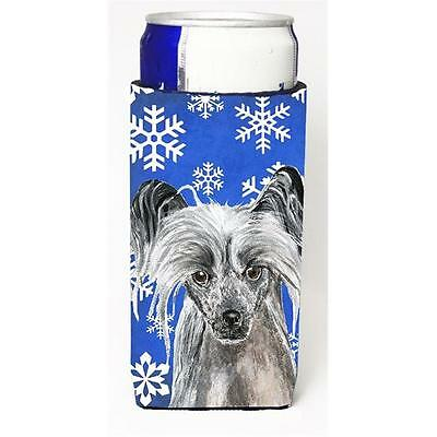 Chinese Crested Blue Snowflake Winter Michelob Ultra bottle sleeves For Slim ...