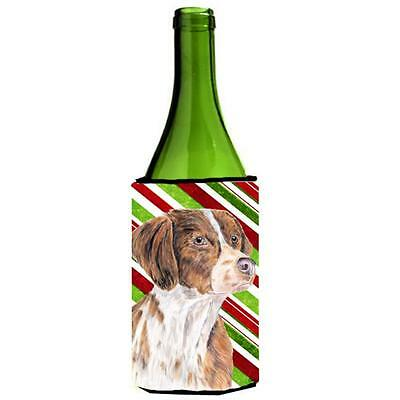 Brittany Candy Cane Holiday Christmas Wine bottle sleeve Hugger 24 oz.