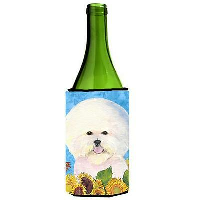Bichon Frise In Summer Flowers Wine bottle sleeve Hugger 24 oz.
