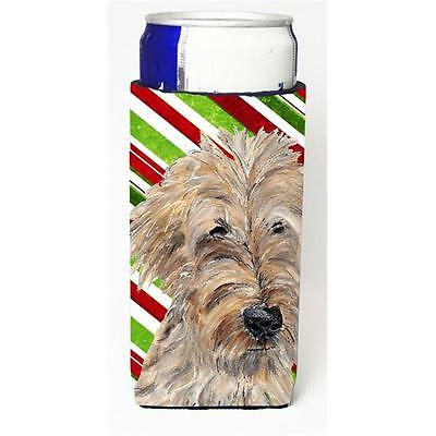 Goldendoodle Candy Cane Christmas Michelob Ultra bottle sleeves For Slim Cans...