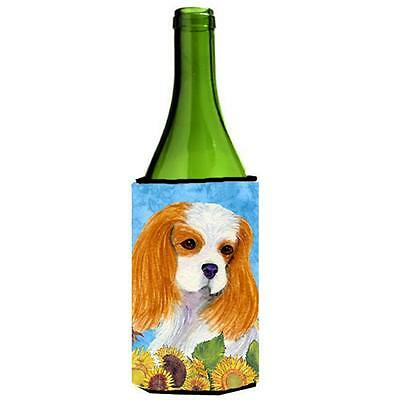 Cavalier Spaniel In Summer Flowers Wine bottle sleeve Hugger 24 oz.
