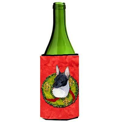 Rat Terrier Christmas Wreath Wine bottle sleeve Hugger 24 oz.