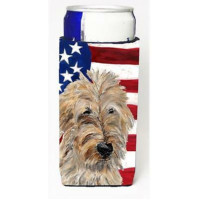 Golden Doodle 2 With American Flag Usa Michelob Ultra bottle sleeves Slim Can...