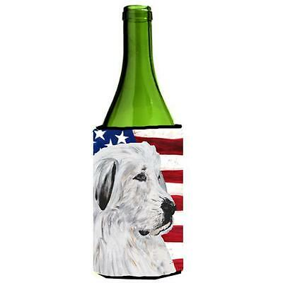 Great Pyrenees With American Flag Usa Wine bottle sleeve Hugger 24 Oz.