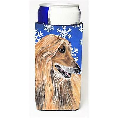 Afghan Hound Winter Snowflakes Holiday Michelob Ultra bottle sleeves For Slim...