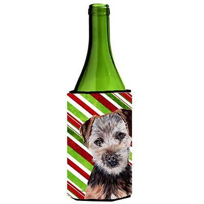 Norfolk Terrier Puppy Candy Cane Christmas Wine bottle sleeve Hugger 24 Oz.