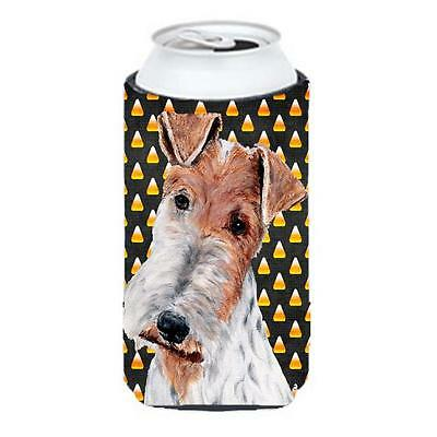 Wire Fox Terrier Candy Corn Halloween Tall Boy bottle sleeve Hugger 22 To 24 Oz.