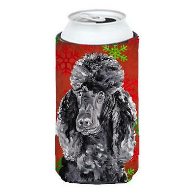 Black Standard Poodle Red Snowflakes Holiday Tall Boy bottle sleeve Hugger 22...