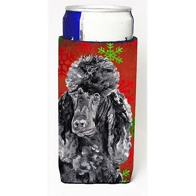Black Standard Poodle Red Snowflakes Holiday Michelob Ultra bottle sleeves Sl...