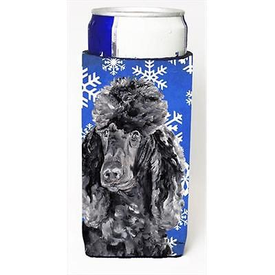 Black Standard Poodle Winter Snowflakes Michelob Ultra bottle sleeves Slim Ca...