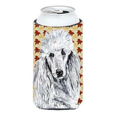 White Standard Poodle Fall Leaves Tall Boy bottle sleeve Hugger 22 To 24 Oz.