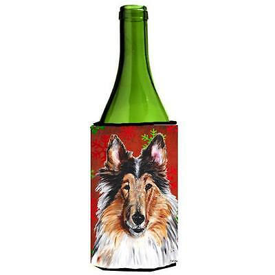 Collie Red Snowflakes Holiday Wine bottle sleeve Hugger 24 Oz.