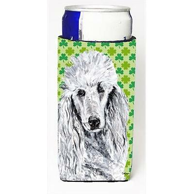 White Standard Poodle Lucky Shamrock St. Patricks Day Michelob Ultra bottle s...
