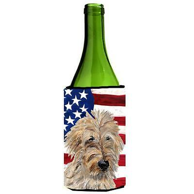 Golden Doodle 2 With American Flag Usa Wine bottle sleeve Hugger 24 Oz.