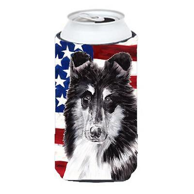 Black And White Collie With American Flag Usa Tall Boy bottle sleeve Hugger 2...