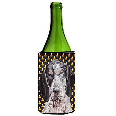 Blue Tick Coonhound Candy Corn Halloween Wine bottle sleeve Hugger 24 Oz.